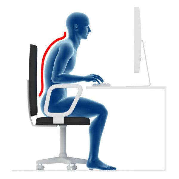 猫背姿勢でパソコン作業